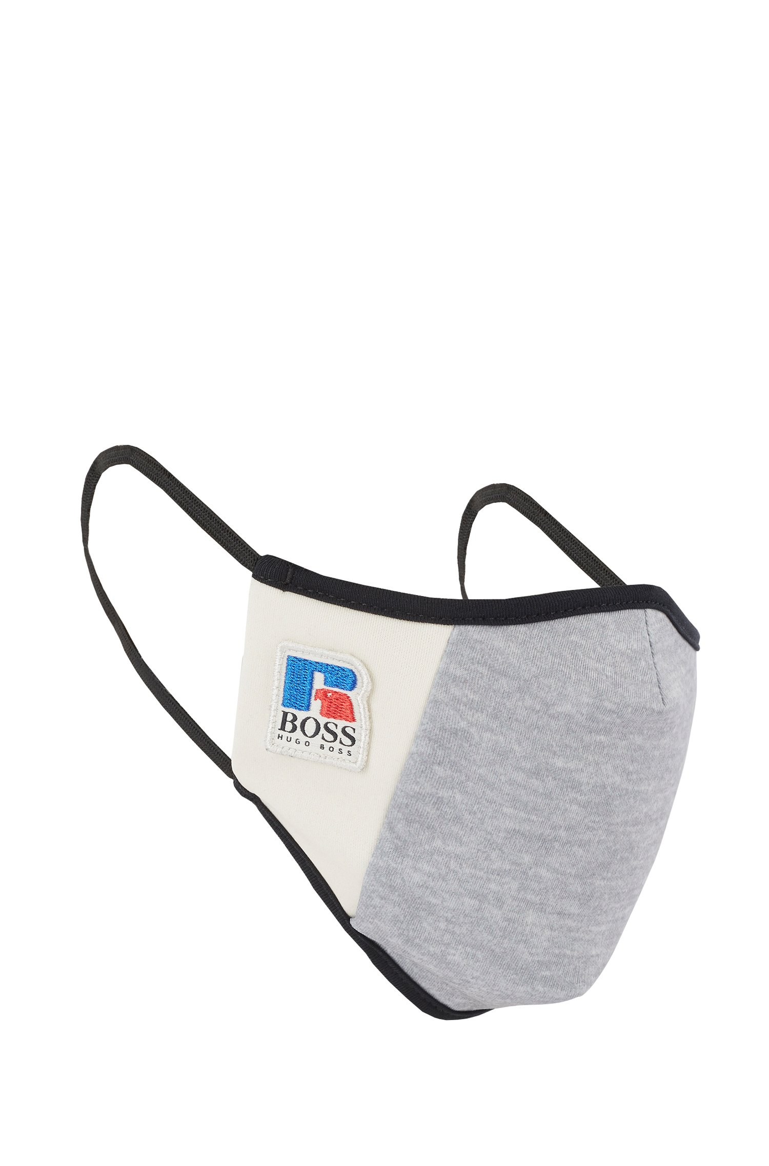 Masque en tissu interlock stretch avec logo exclusif, Gris