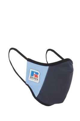 Stoffmaske aus elastischem Interlock-Gewebe mit exklusivem Logo, Dunkelblau