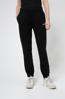 French-terry tracksuit bottoms with contrast logo, Black