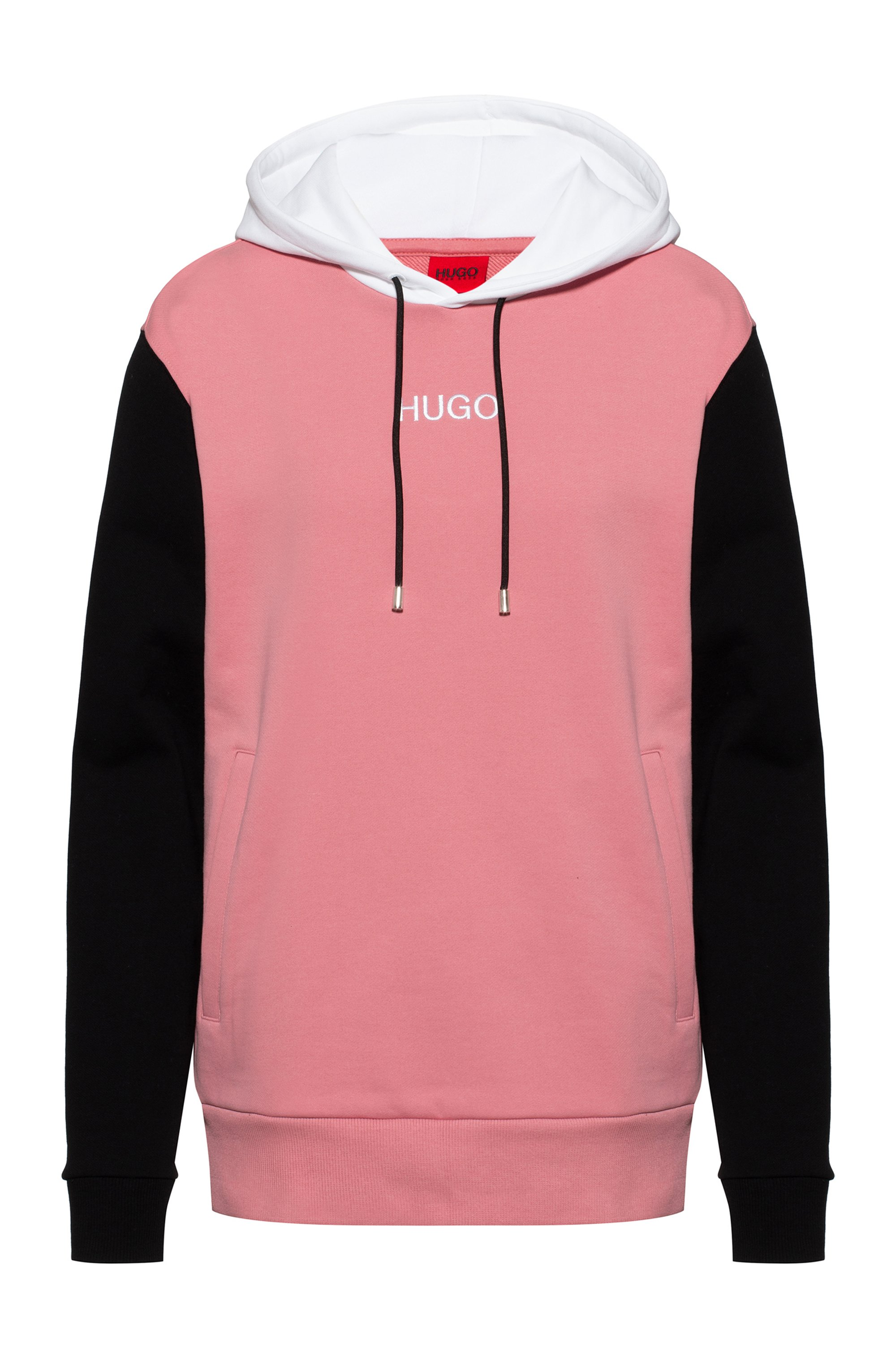 French-terry colour-block hooded sweatshirt with logo detail, Patterned