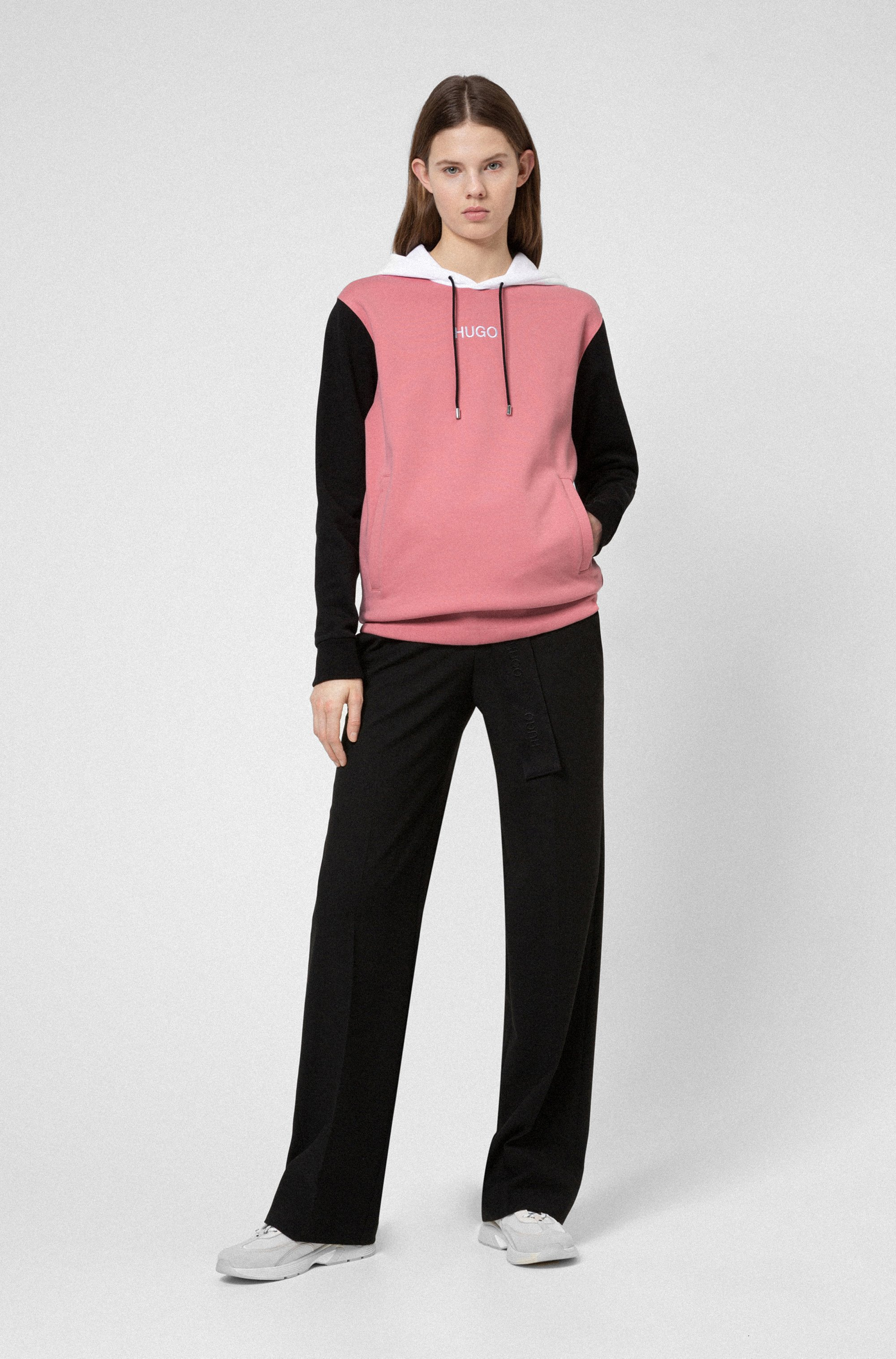 French-terry colour-block hooded sweatshirt with logo detail