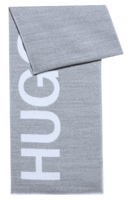 Woven scarf with large logo, Grey