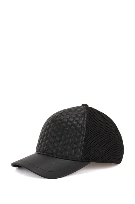 Faux-leather cap with hexagon quilting and tonal logo, Black