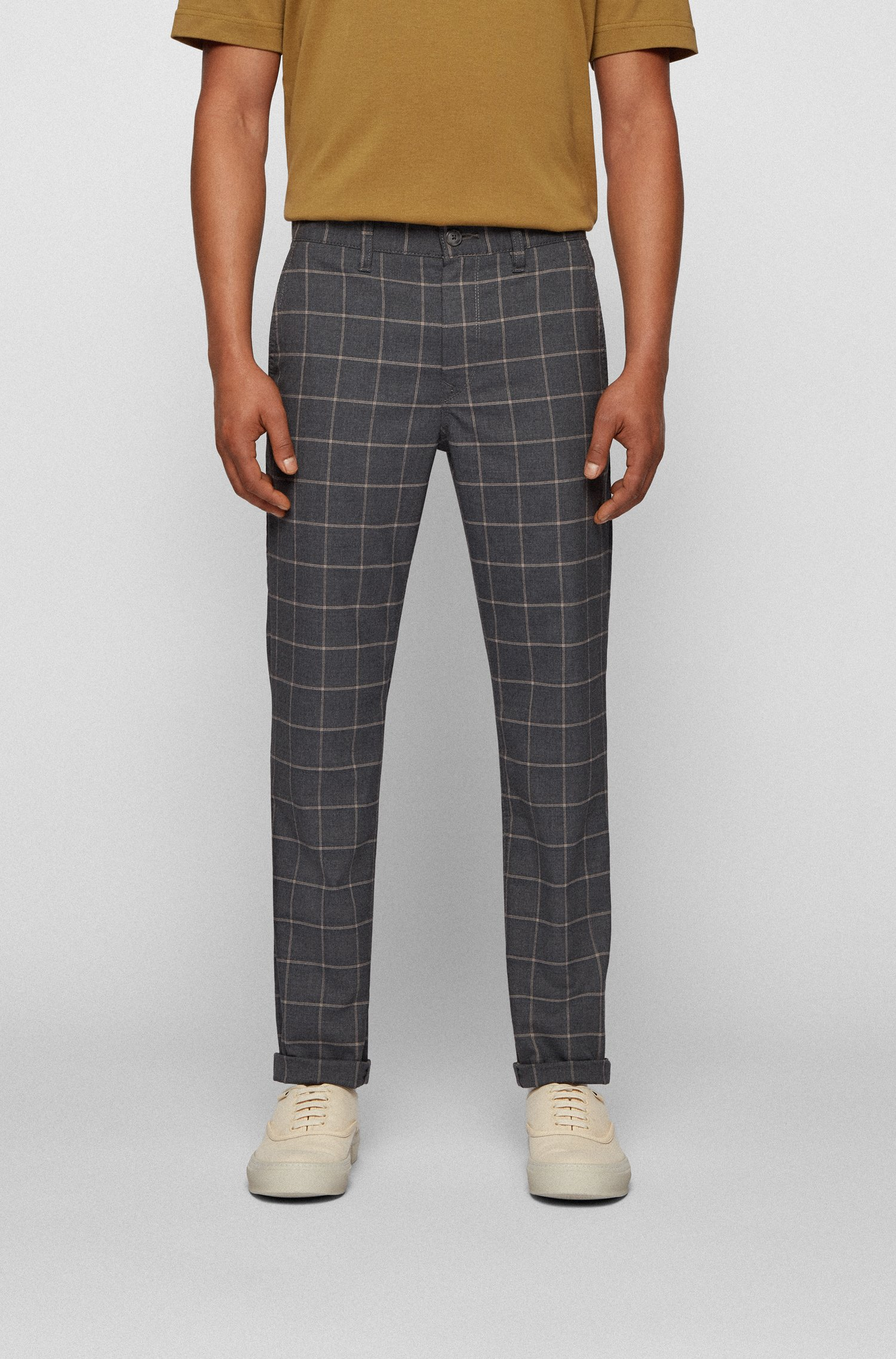 Tapered-fit chinos in checked stretch fabric, Dark Grey