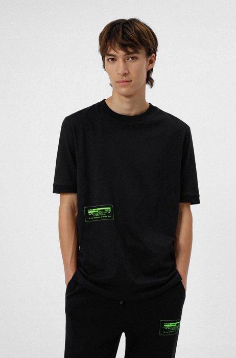 Relaxed-fit T-shirt van katoen met cyber-credologo, Zwart