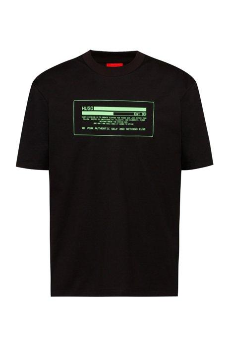 T-Shirt aus Bio-Baumwolle mit Cyber-Manifesto-Logo, Schwarz