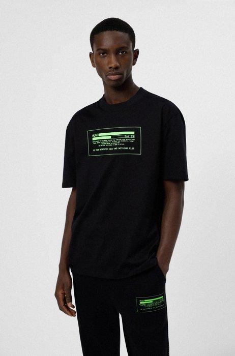 T-shirt en coton biologique avec grand logo à message, Noir