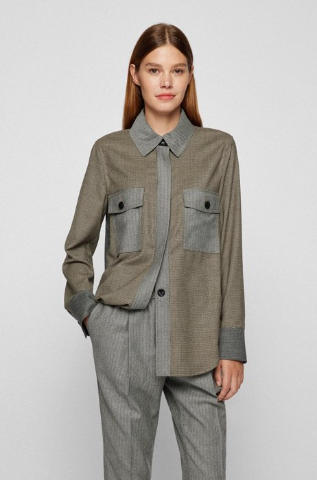 Relaxed-fit overshirt in patchworked stretch wool, Khaki
