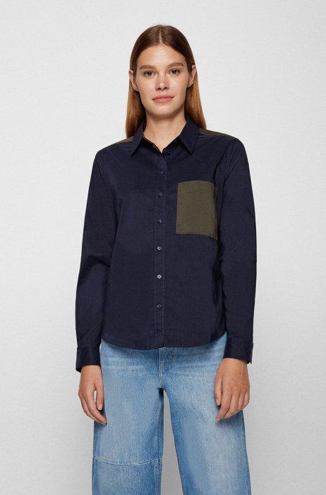 Regular-fit blouse in a repurposed cotton blend, Dark Blue