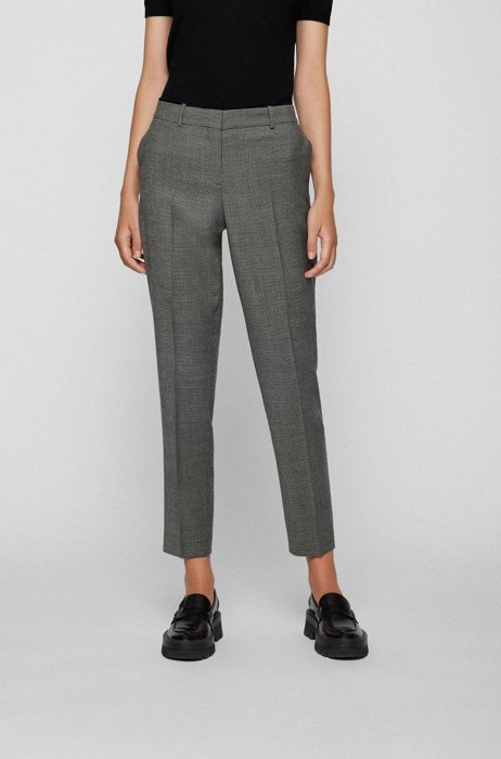 Regular-fit trousers in stretch wool with houndstooth pattern, Grey