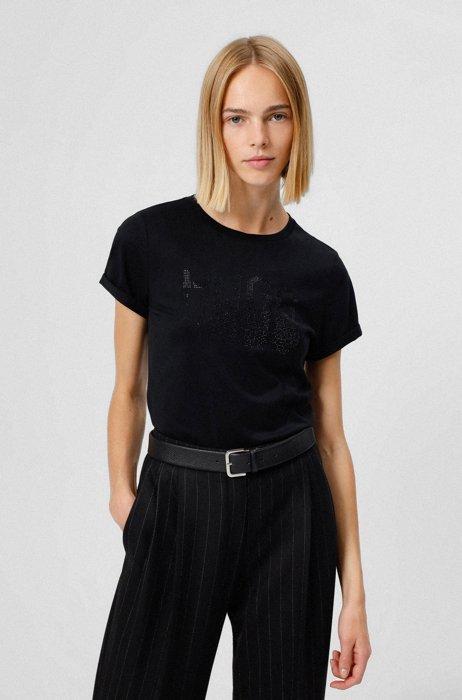 Organic-cotton slim-fit T-shirt with rhinestone logo, Black