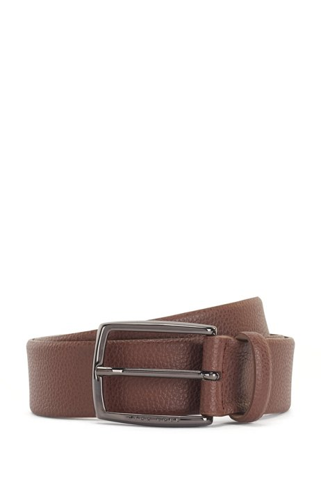 Grained-leather belt with polished gunmetal buckle, Dark Brown