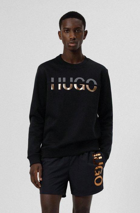 Relaxed-Fit Sweatshirt mit geteiltem Logo, Schwarz