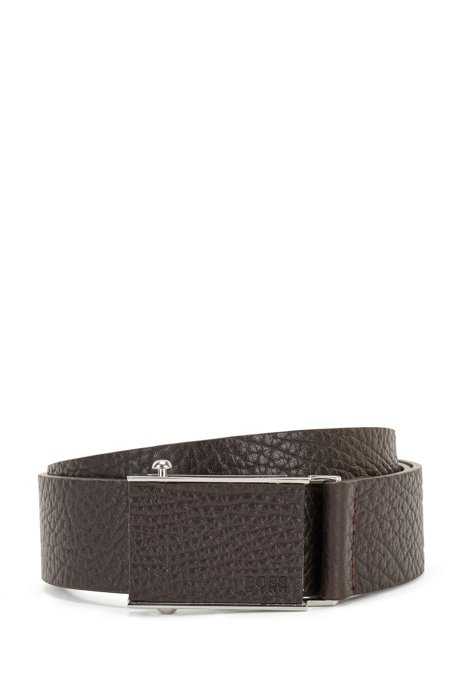 Grained-leather belt with quick-release buckle, Dark Brown