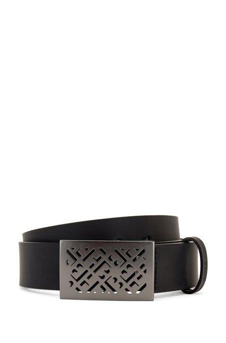 Italian-leather belt with monogram cutout plaque buckle, Black