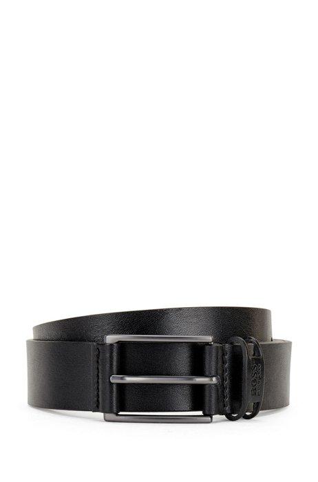Branded-keeper belt in Italian leather, Black