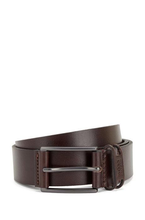 Branded-keeper belt in Italian leather, Dark Brown