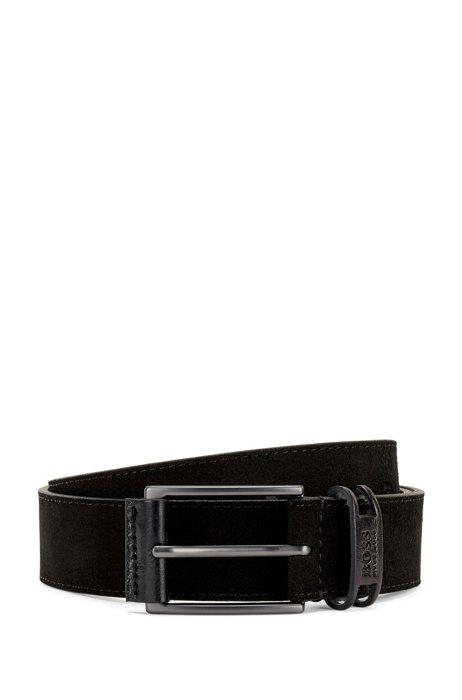 Suede belt with branded keeper, Black