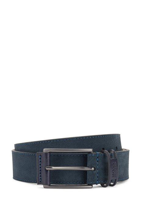 Suede belt with branded keeper, Dark Blue