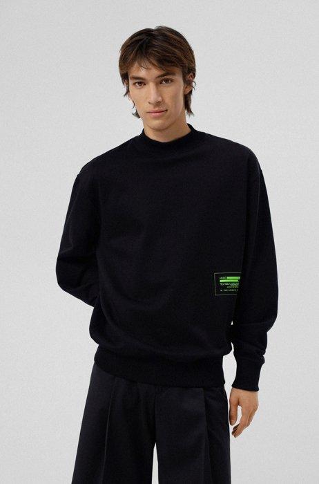 Organic-cotton sweatshirt with cyber manifesto logo, Black