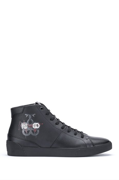 Leather high-top trainers with snake artwork and logos, Black