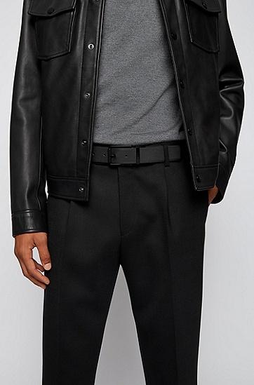 招牌扣环涂层皮革双面腰带,  001_Black