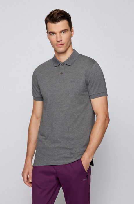 Regular-fit polo shirt in cotton with tonal logo, Grey