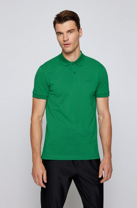 Regular-fit polo shirt in cotton with tonal logo, Green