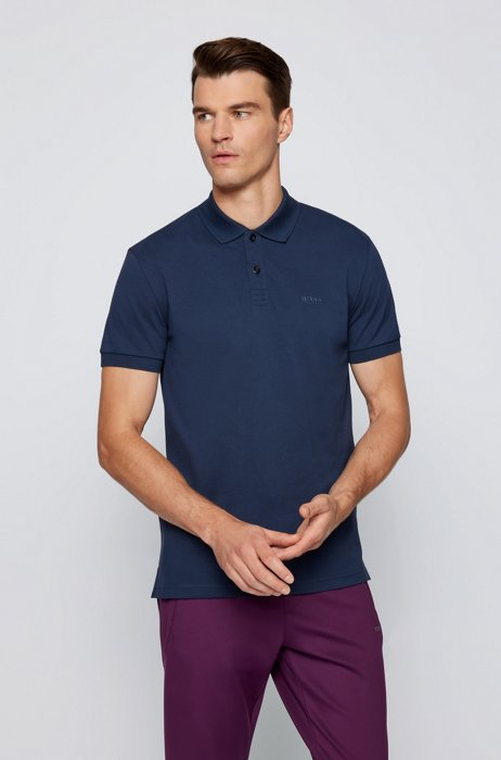 Regular-fit polo shirt in cotton with tonal logo, Dark Blue