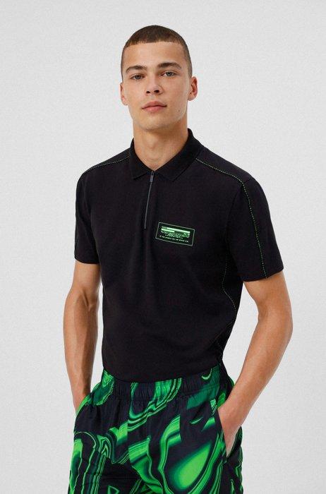Polo in cotone elasticizzato con logo in stile cyber manifesto, Nero