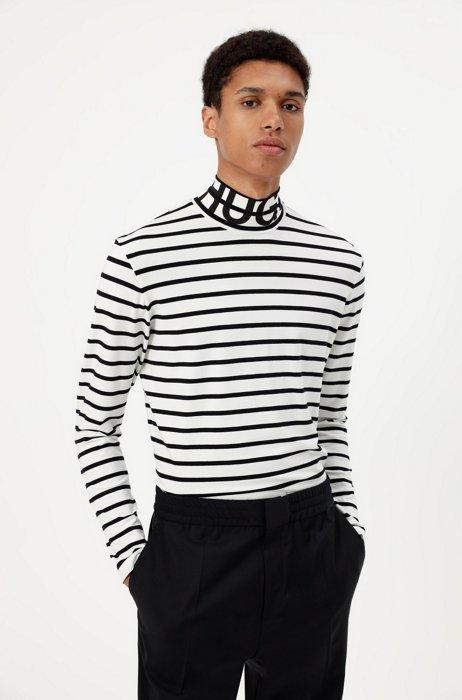 Camiseta de manga larga en tejido elástico con logo en el cuello, Blanco