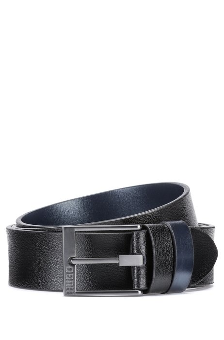 Reversible belt in plain and embossed leather, Black
