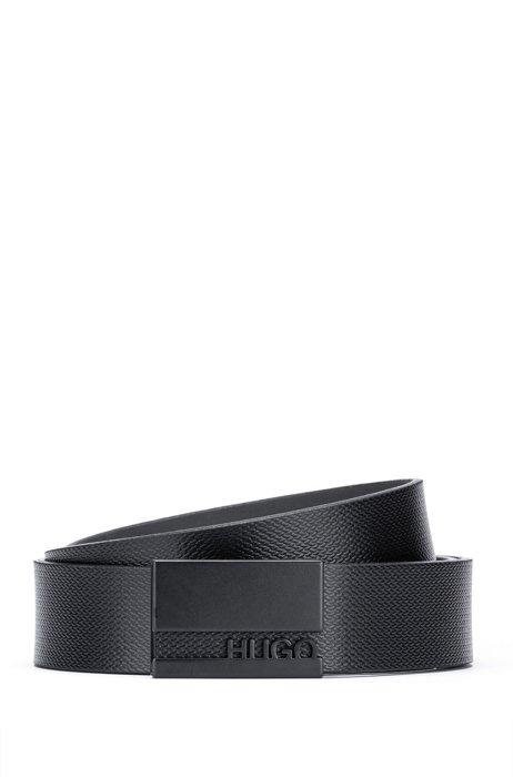 Plaque-buckle belt in embossed Italian leather, Black