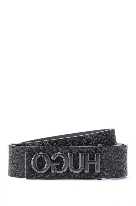 Embossed Italian-leather belt with reversed logo hardware, Black