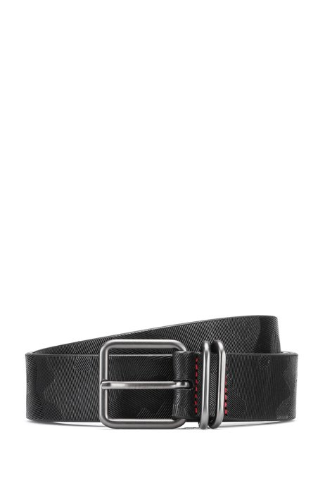 Leather belt with camouflage-print pattern, Black