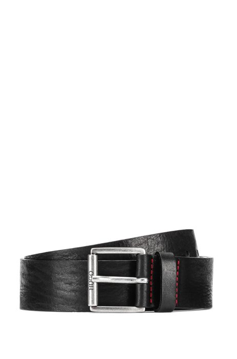 Tumbled Italian leather belt with roller buckle, Black