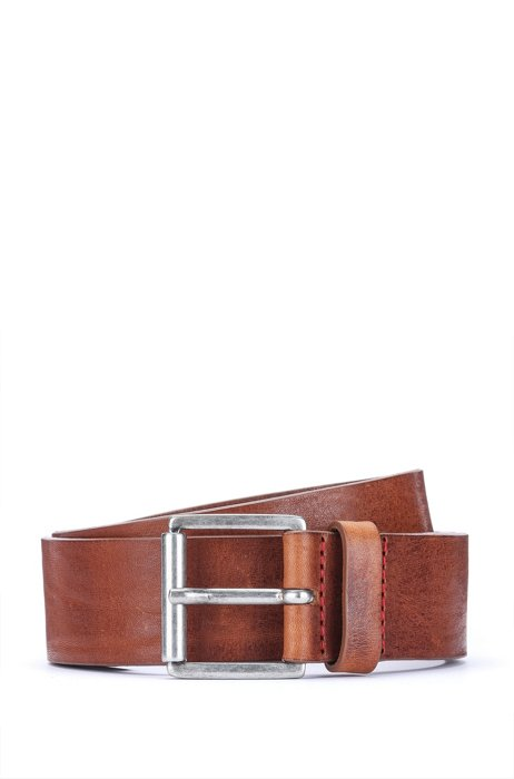 Tumbled Italian leather belt with roller buckle, Brown
