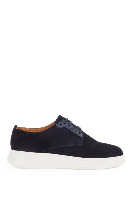 Hybrid Derby shoes with suede uppers, Dark Blue