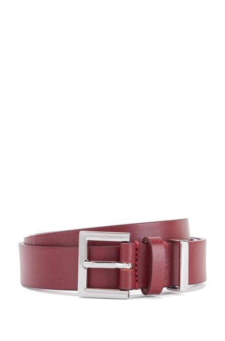 Double-keeper belt in Italian leather, Dark Red