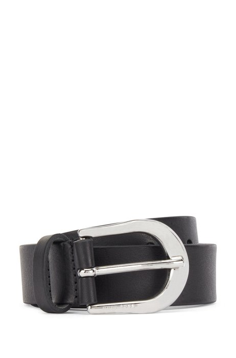 Italian-made leather belt with logo-engraved buckle, Black