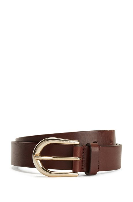 Italian-made leather belt with logo-engraved buckle, Dark Brown