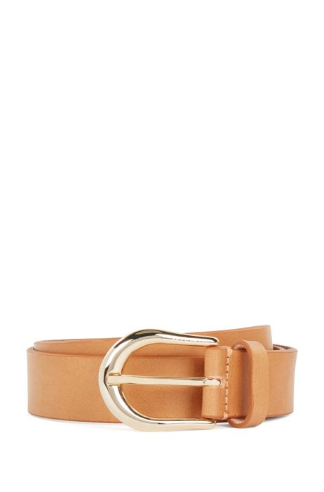 Italian-made leather belt with logo-engraved buckle, Light Brown