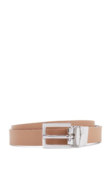 Strukturierter Gürtel aus italienischem Leder, Hellbraun