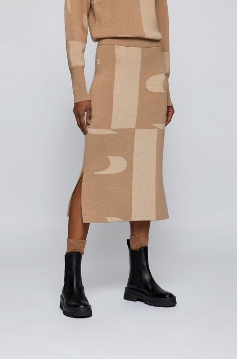 Double-faced virgin-wool tube skirt with logo jacquard, Beige Patterned