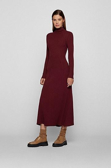 定位罗纹长款针织连衣裙,  602_Dark Red