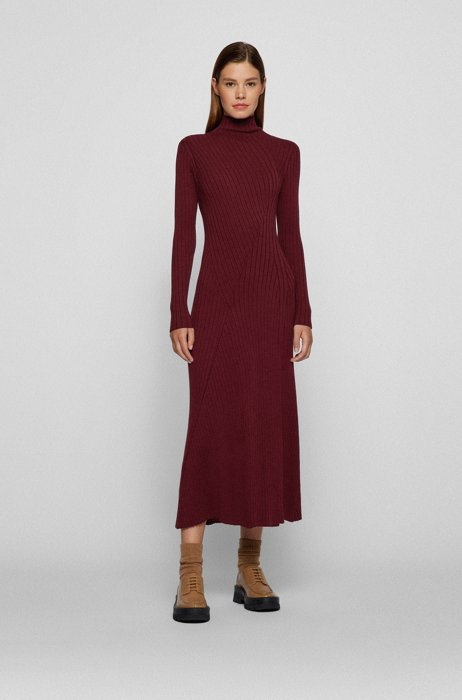 Long-length knitted dress with placement ribbing, Dark Red