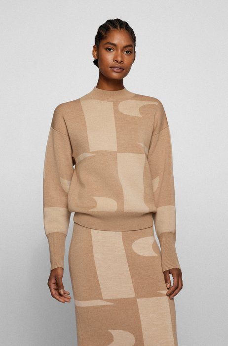 Virgin-wool sweater with large-scale logo jacquard, Beige Patterned
