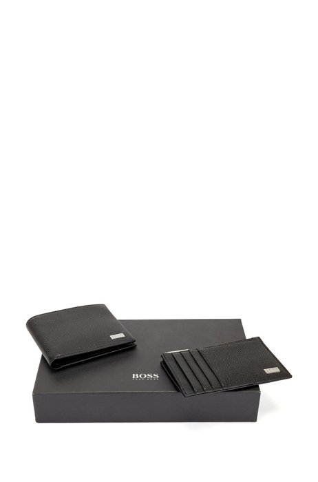 Gift-boxed wallet and coin case in leather, Black