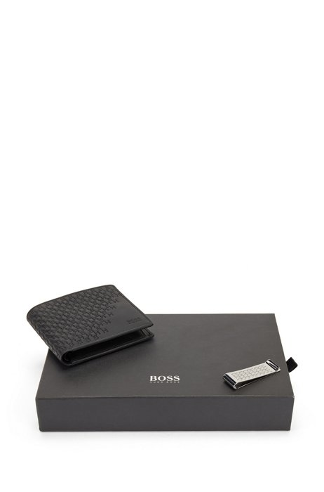 Gift-boxed money clip and leather wallet, Black