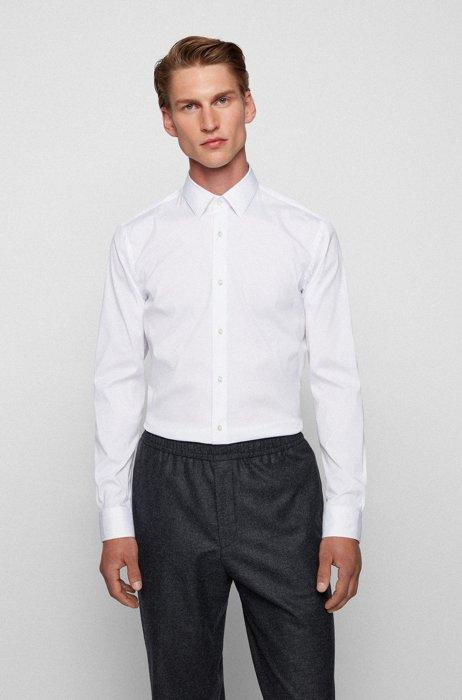 Extra Slim-Fit Hemd aus bügelleichter Popeline, Weiß
